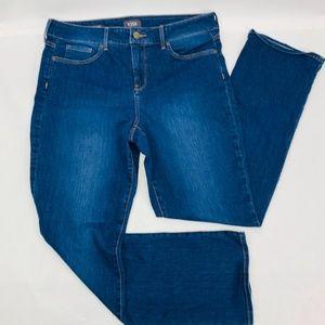 NYDJ Womens Jeans 12 Blue Marilyn Straight Lift